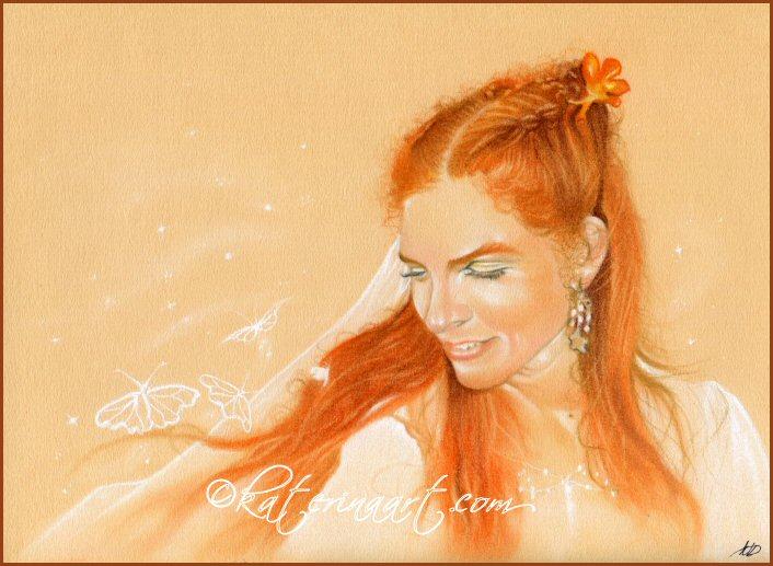 Butterflies in her Hair by Katerina-Art