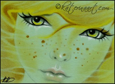 Mermaid Freckles ACEO by Katerina-Art