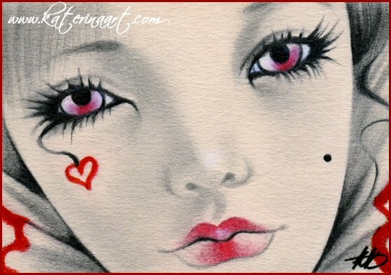 Queen of Hearts ACEO by Katerina-Art