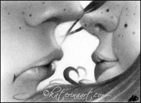 First Kiss ACEO by Katerina-Art