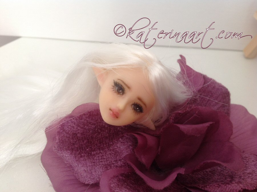 Sold Obitsu Repaint 1/6 OOAK Fairy Elf Doll Head by Katerina-Art