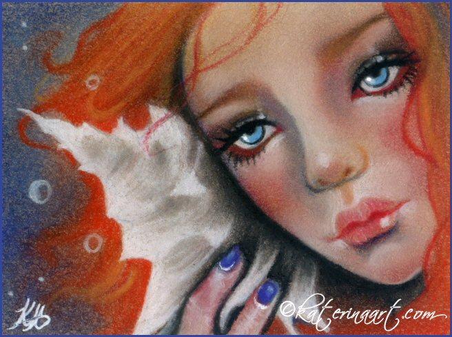 Aceo  Seashell Beauty by Katerina-Art
