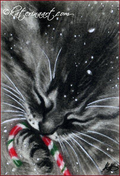 Candy Cane Kitten by Katerina-Art