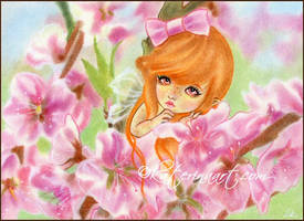 Hiding among the cherry blossoms by Katerina-Art