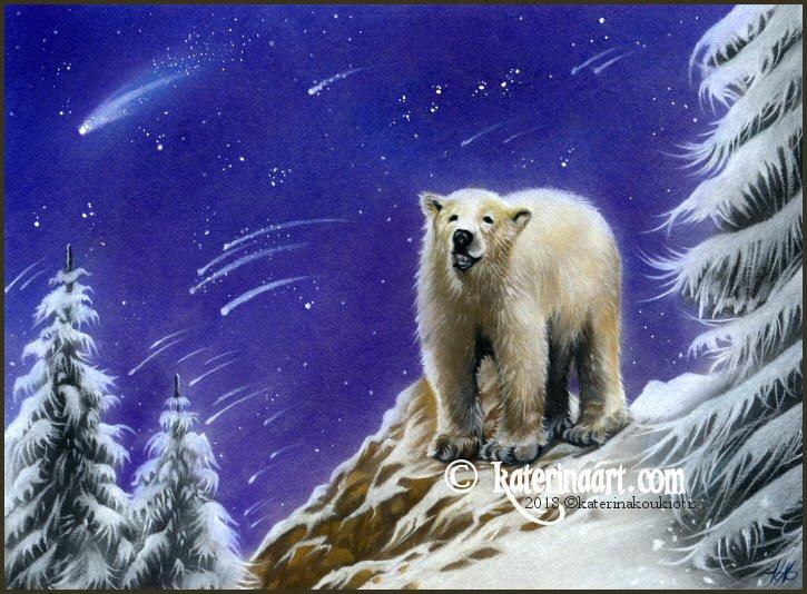 Northern Lights - Pastel  Polar Bear Drawing by Katerina-Art
