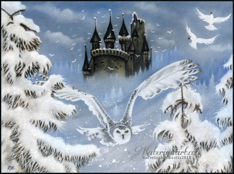 Winter Fairytale - Pastel Drawing Fantasy by Katerina-Art