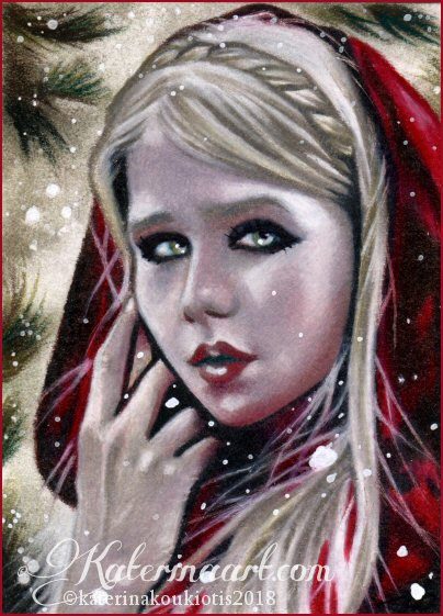 Aceo MERRY LITTLE RIDING HOOD by Katerina-Art