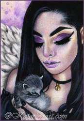 Gothic Angel and  Lost Kitty -ACEO COMMISSION