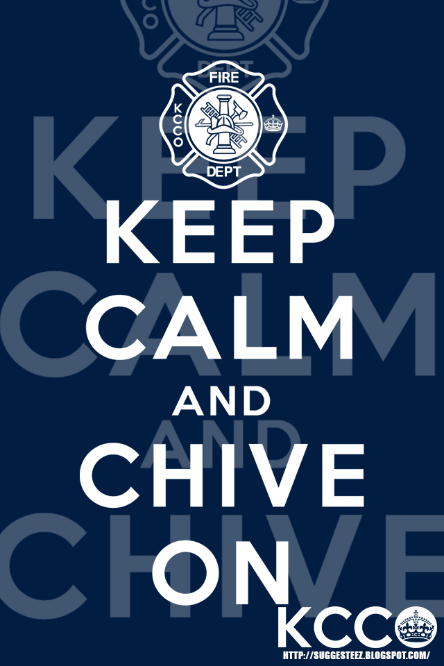 Firefighter KCCO Navy Blue Keep Calm And Chive On By Suggesteez