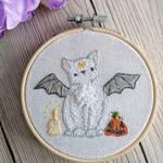 Halloween Bat Cat Embroidery