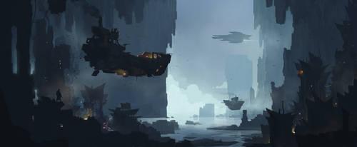 Flying barge by sketchboook