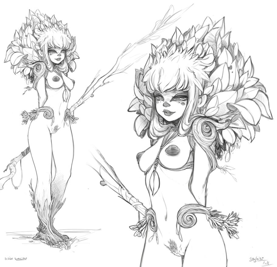 Magicienne nude by StyloideIllustration