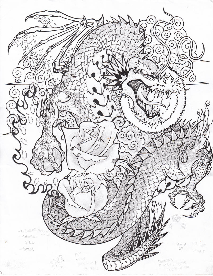 Japanese Tattoo Line Drawing : Dragon tattoo sketch by bopet on deviantart