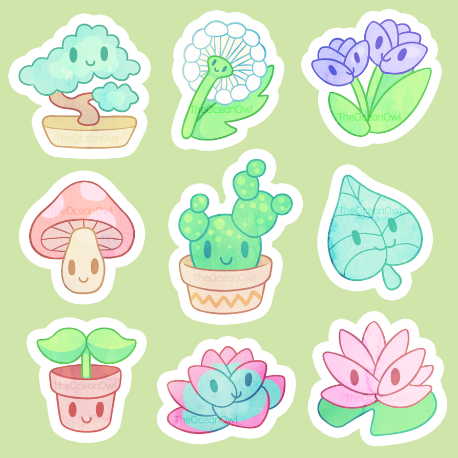 Plant Stickers by TheOceanOwl