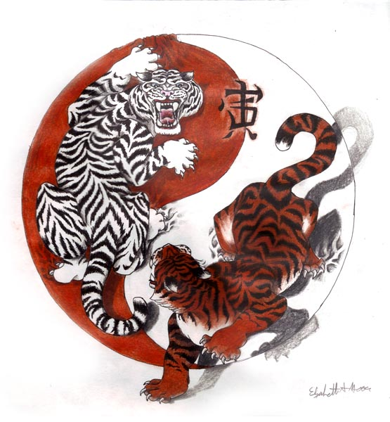 Ying Yang Tiger Tattoo Design
