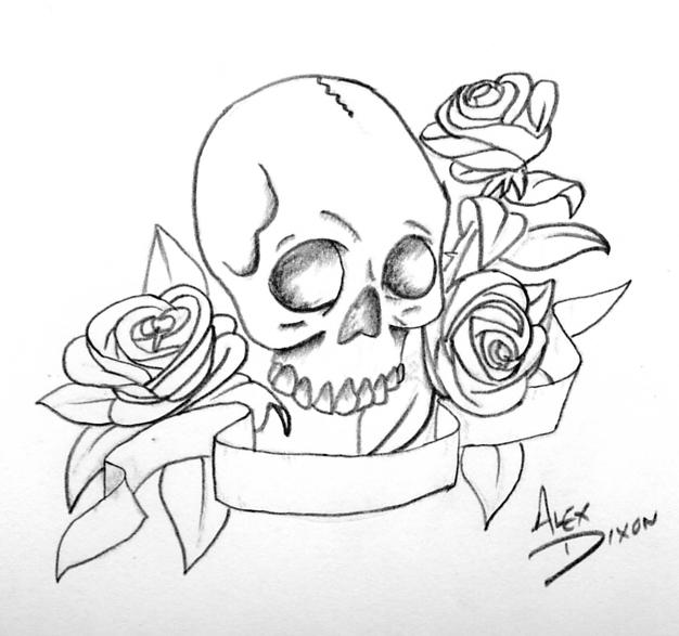 Skull With Roses And Banner By Alexdicko On DeviantArt