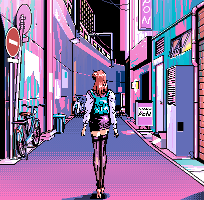 Japan Pixel Neon Night (Pixel Perfect) by WarriorDandriel