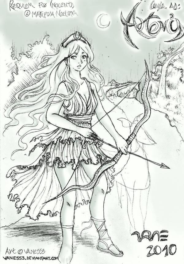 artemis coloring page - rfi artemis the huntress wip by vane553 on deviantart