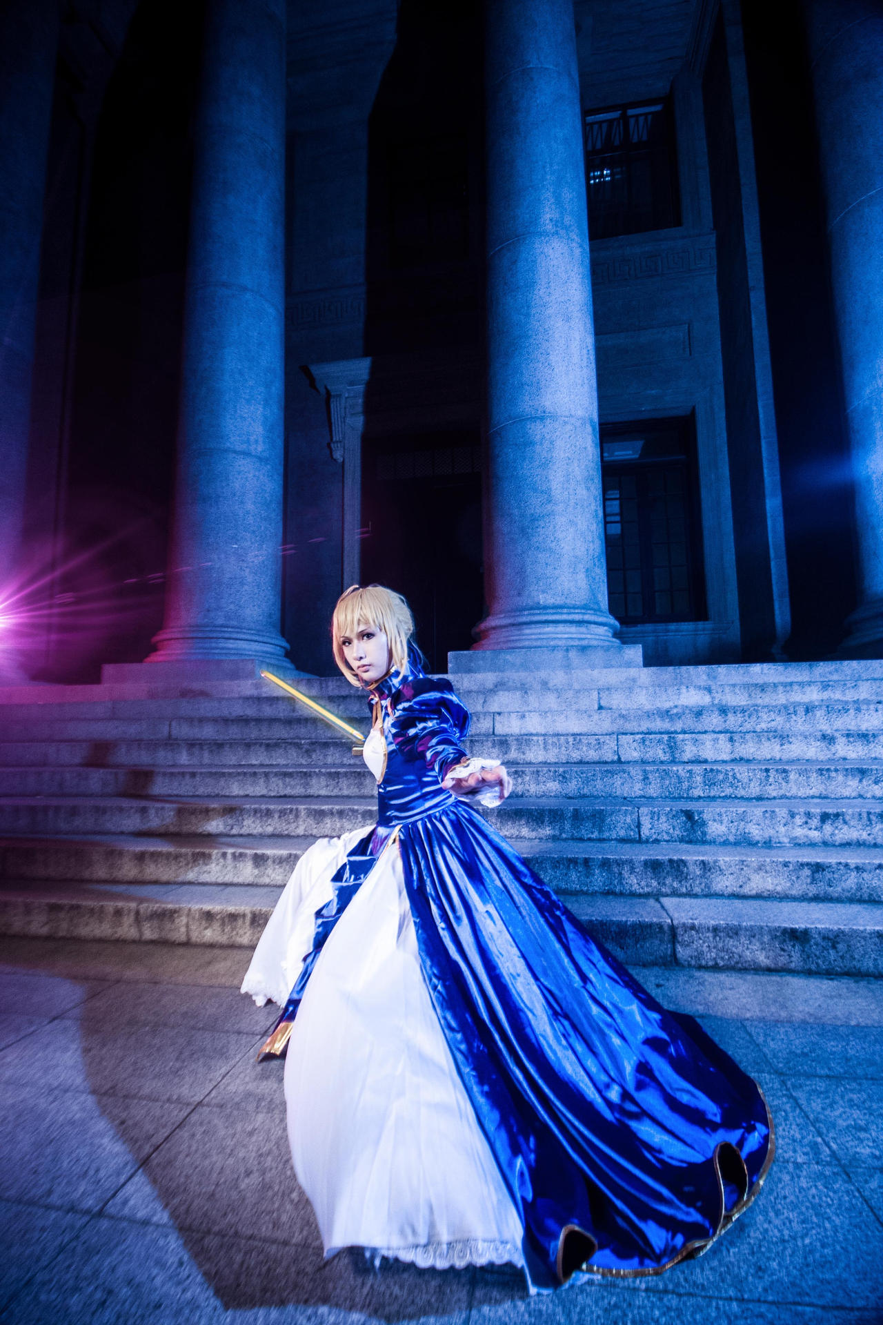 Fate Stay Night/Fate Zero Saber blue gown by DeutschGreen