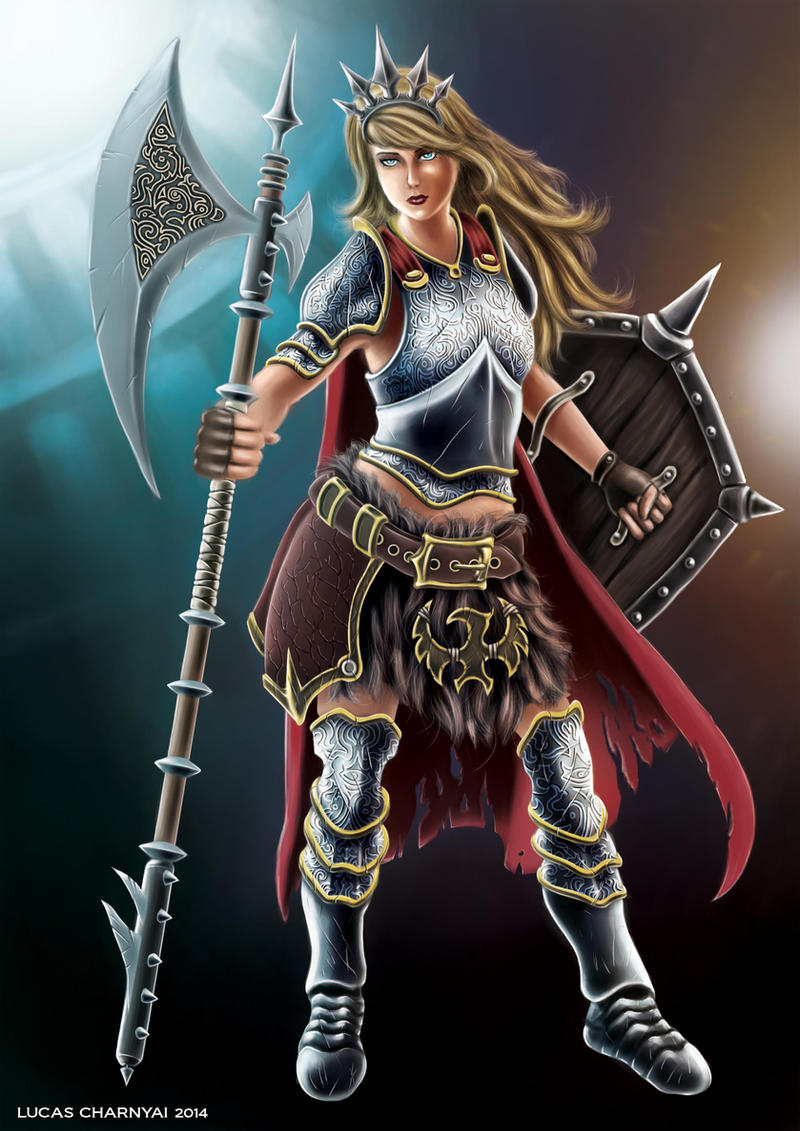 Female Warrior with Battle Axe and Shield by lucascharnyai ...