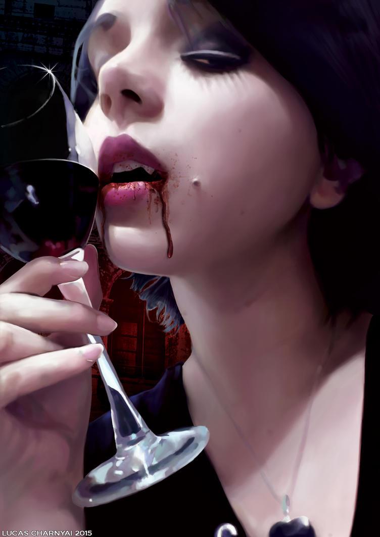 Vampire Girl Portrait by lucascharnyai