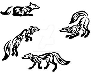Tribal Wolves/Foxes by fallowsingerwolf