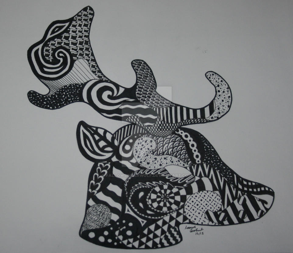 Zentangle Deer by fallowsingerwolf