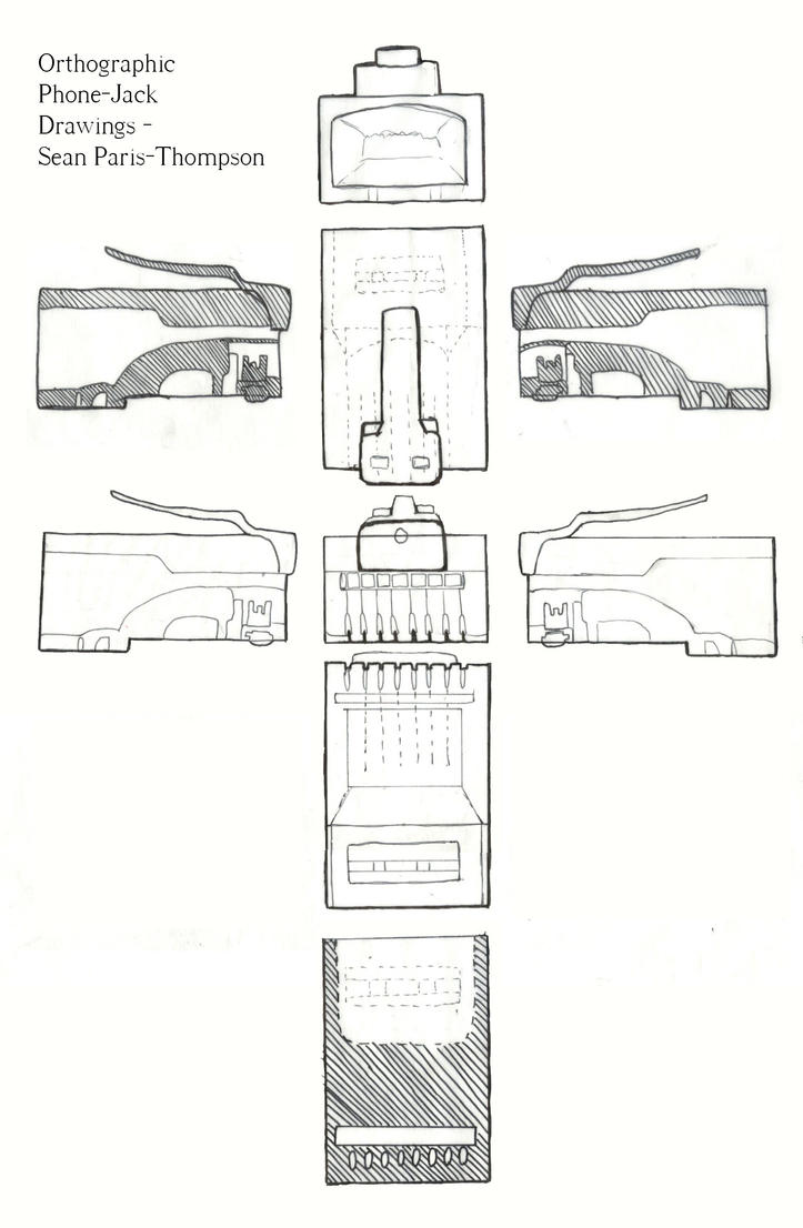 orthographic phone jack drawings by seanpt