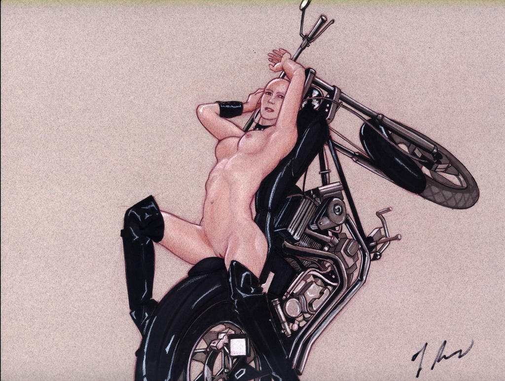The Bald Slut on the Motorcycle by rodfern2011