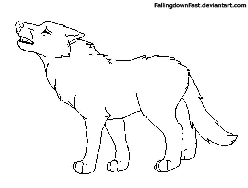 Howling Wolf FREE Lineart by FallingdownFast