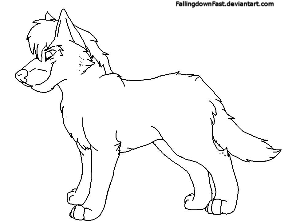 Male Wolf line-art by FallingdownFast