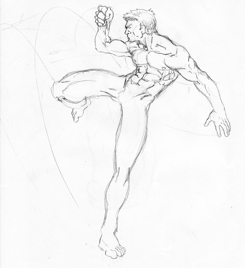 This is an image of Ridiculous Warrior Pose Drawing