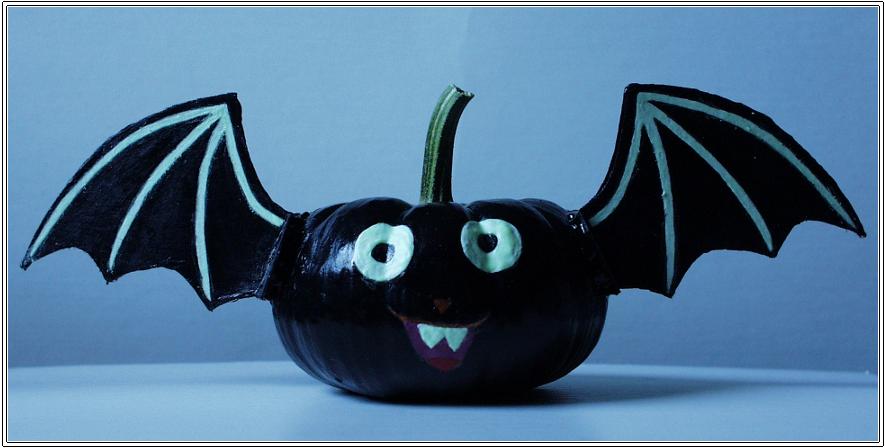 Bat pumpkin by sapphirexkitsune on deviantart for Glow in the dark paint for real pumpkins