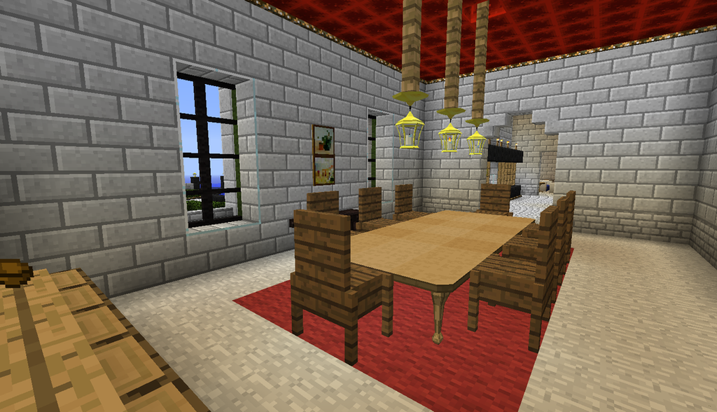 Minecraft house dining room by the uncertain on deviantart for Dining room designs minecraft
