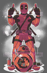 Deadpool and BB8 Poster by Kaibuzetta