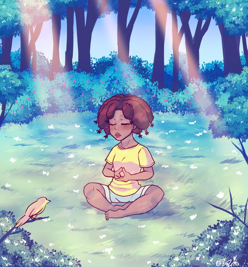 P - Canary Meditates by Kaibuzetta