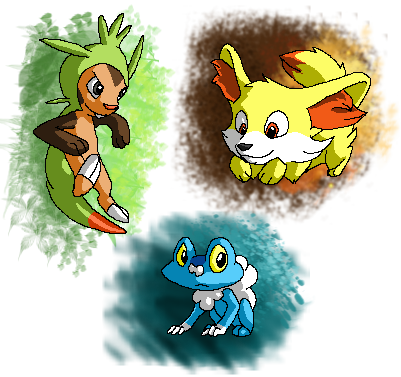 chespin fennekin froakie by spitfiresonice on deviantart