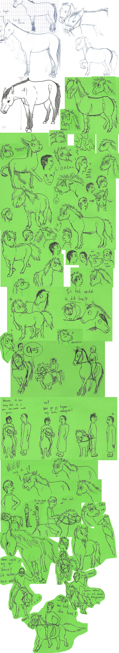 Sketchdump of horses and pooownies by SpitfiresOnIce