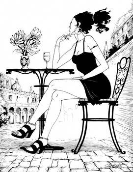 Woman at Cafe with Wine
