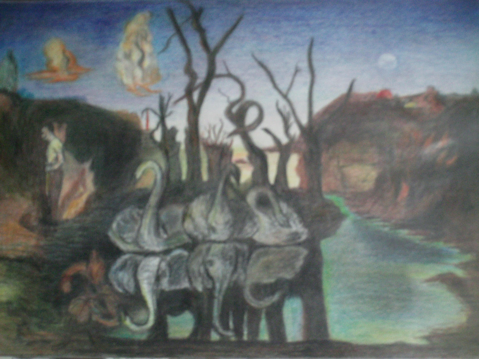 swans reflecting elephants painter