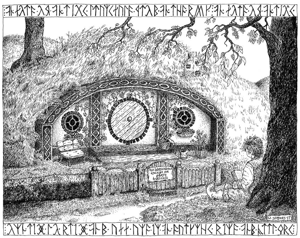 Frodo At Bag End pen and ink by somerswi