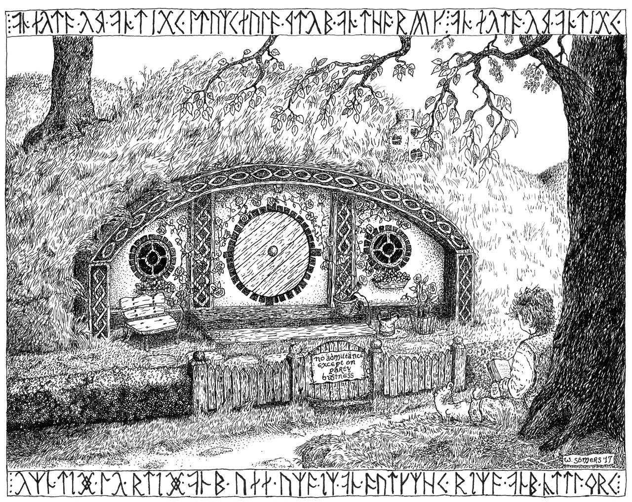 Frodo At Bag End pen and ink
