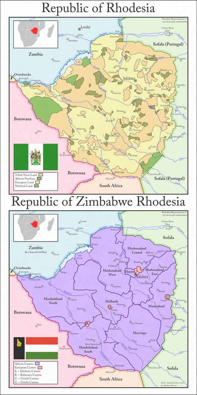 NationStates Dispatch Map of Free Zimbabwe Rhodesia