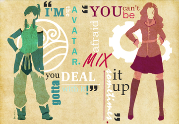 Korra and Asami quote art thingie by lucastea