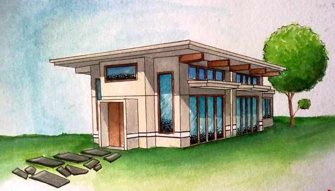 Two point perspective modern house Drawing modern houses