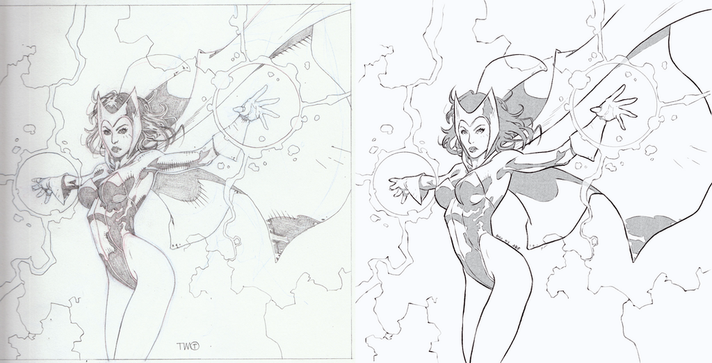 Inking Practice - 002 - Scarlet Witch by Bostonology
