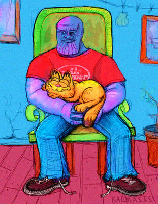 GARFIELD AND THANOS. by KALMASIS