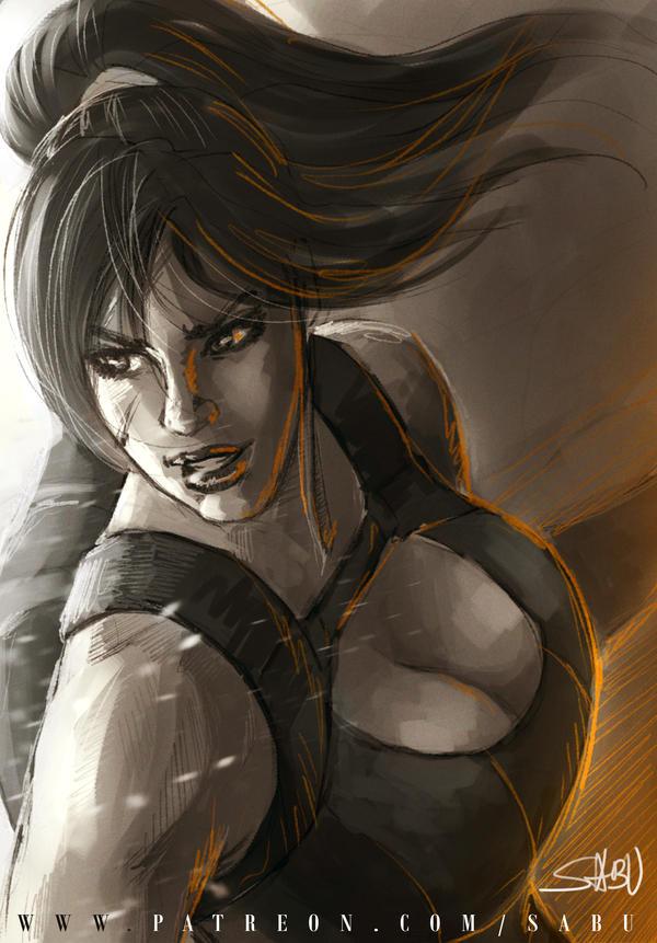 45 mins sketches - Lara Croft by SabuDN