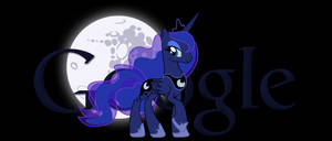 Princess Luna Google Logo +Dark Background