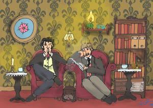 Sherlock and John relaxing at home